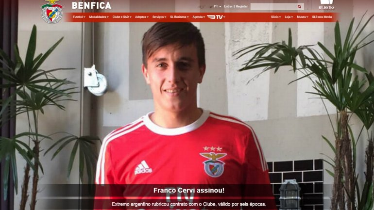 Franco Cervi firmó con el Benfica